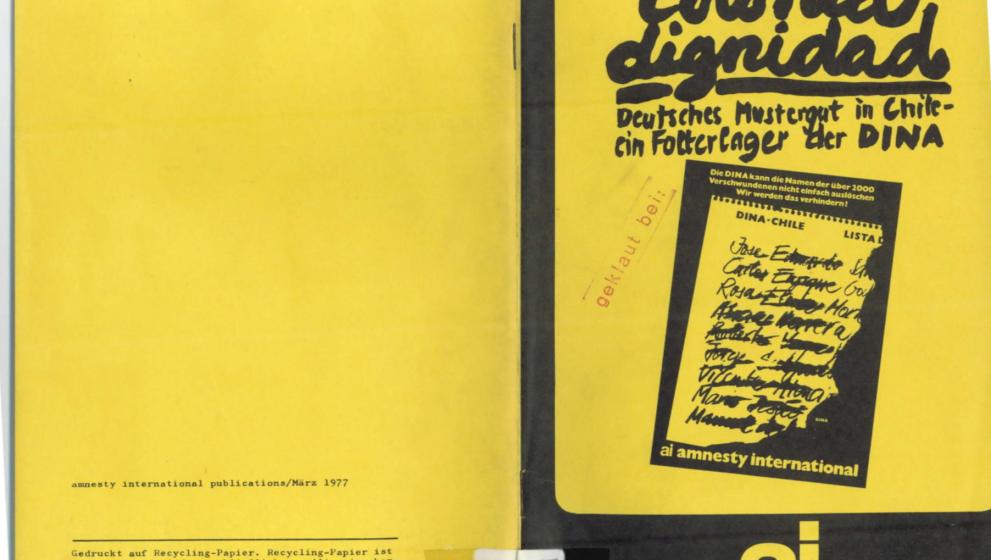 Die Broschüre von Amnesty International über die Colonia Dignidad von 1977